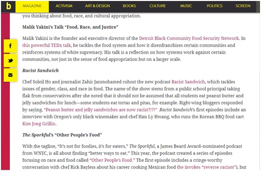 A Short Resource Guide to Food, Race, and Cultural Appropriation